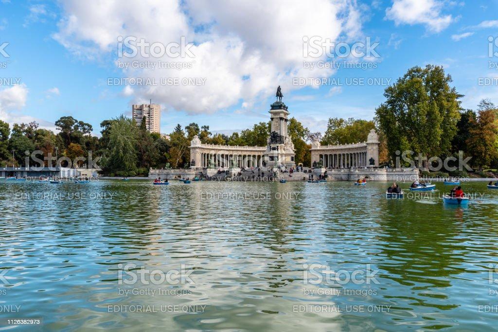 Great pond of Buen Retiro Park  in Madrid stock photo