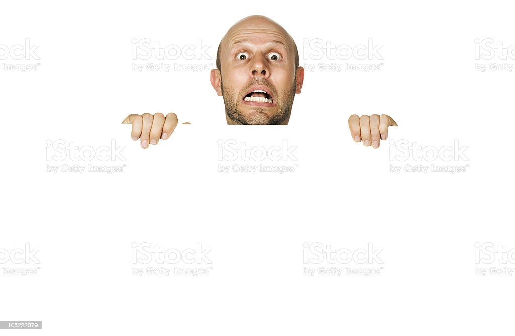 Great portrait of a scared man. Isolated on white. stock photo