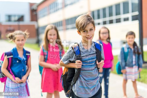 istock Great Portrait Of School Pupil Outside Classroom Carrying Bags 846087228