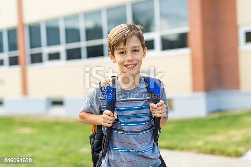 istock Great Portrait Of School Pupil Outside Classroom Carrying Bags 846094628