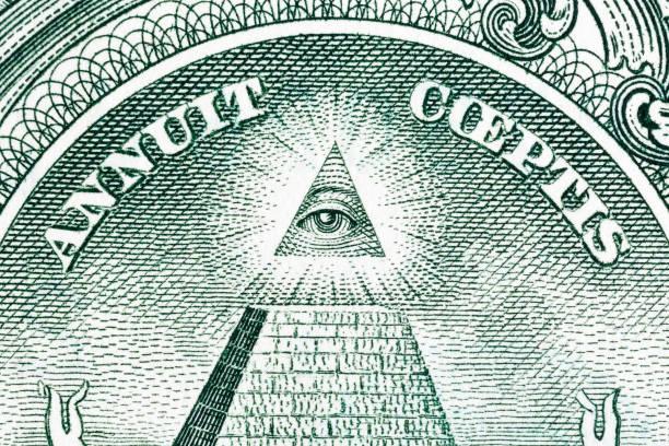 gran prensa de estados unidos. gran pirámide con el ojo del arquitecto - conspiración fotografías e imágenes de stock