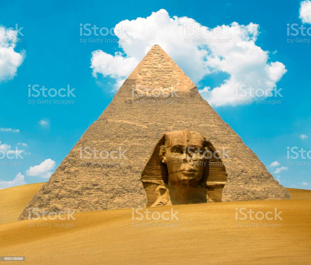 Great Pyramid of Pharaoh Khufu and the Sphinx on sand dunes - Egypt concept stock photo