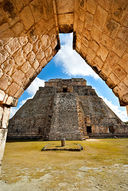 great pyramid of uxmal yucatan mexico - uxmal stock photos and pictures