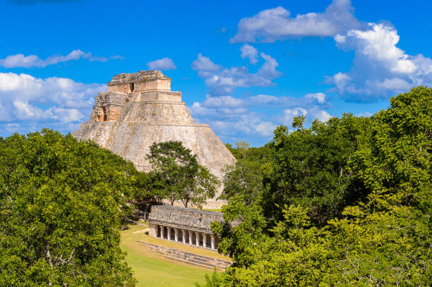 great pyramid, uxmal, an ancient maya city of the classical period. one of the most important archaeological sites of maya culture. unesco world heritage site - uxmal stock photos and pictures