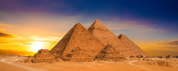 great pyramids in egypt - pyramid stock photos and pictures