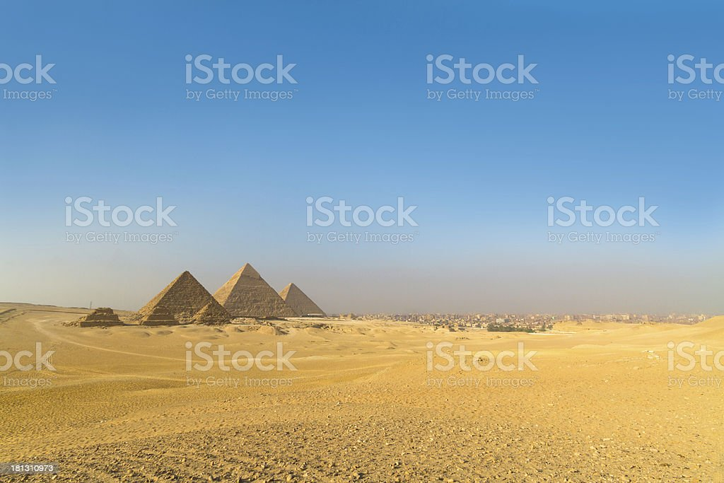 Great pyramids in Giza valley, Cairo, Egypt stock photo