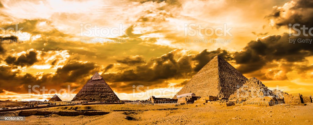 Great Pyramids of Giza stock photo