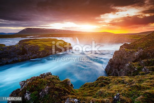 istock Great rapid flow of water powerful Godafoss cascade. Location place Bardardalur valley, Skjalfandafljot river, Iceland, Europe. 1140392353