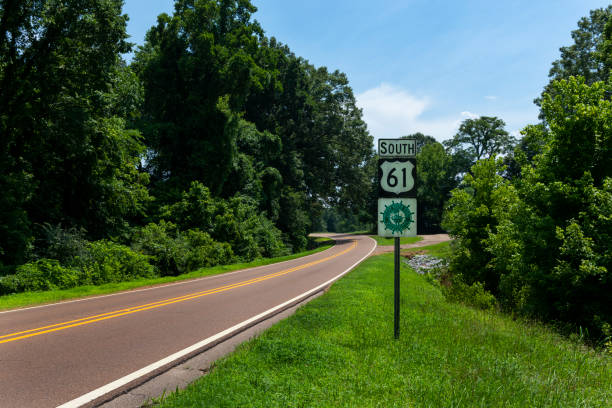 A Great River Road Sign along the US Route 61 near the city of Vicksburg, in the State of Mississippi stock photo