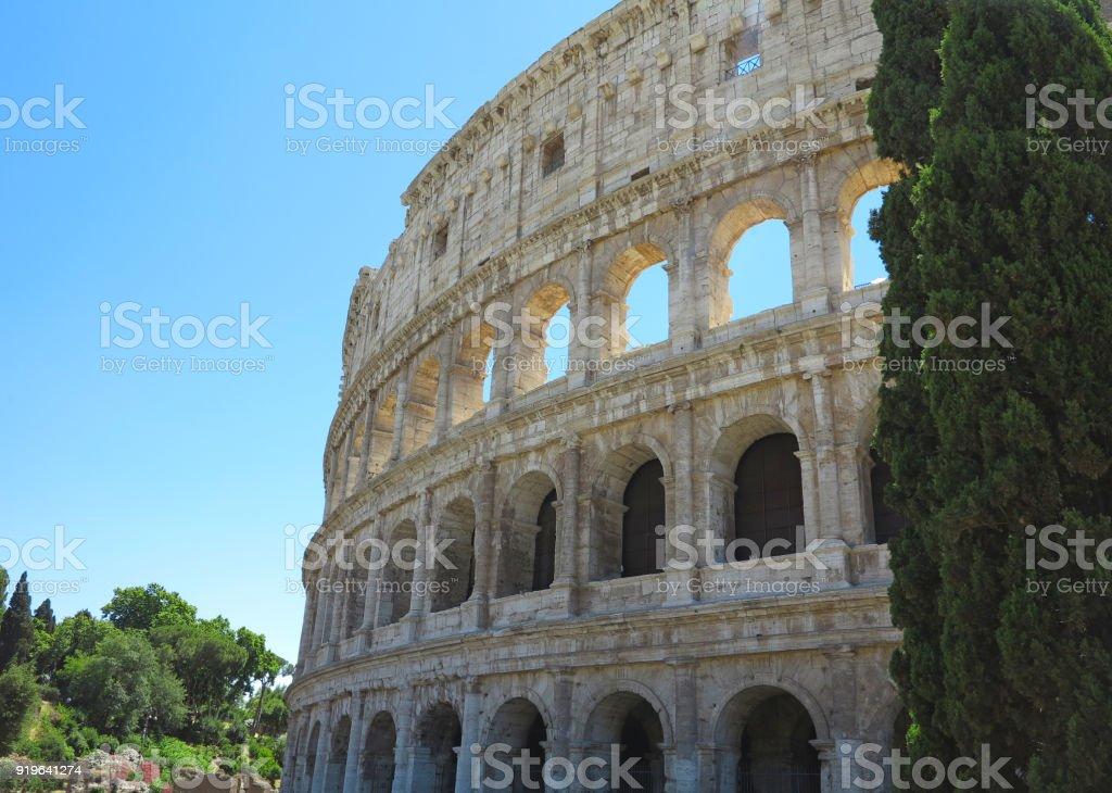 Great Roman Colosseum ( Coliseum, Colosseo ), Flavian Amphitheatre. Rome. Italy. stock photo