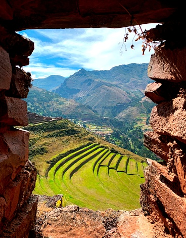 Incas agricultural terraces in Andes mountains, Pisac, Cuzco region, Peru, South America