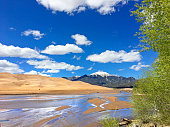 The snow capped Sangre de Cristo Mountains rise in the distance beyond the sand dunes of the Great Sand Dunes National Park and Preserve and Medano Creek in southern Colorado on a beautiful cloud filled day.
