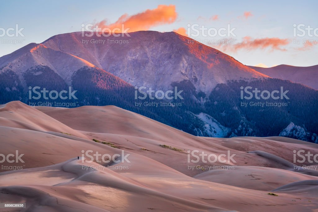 Great Sand Dunes National Park at dawn First morning light - Great Sand Dunes National Park and Preserve in Colorado Abstract Stock Photo