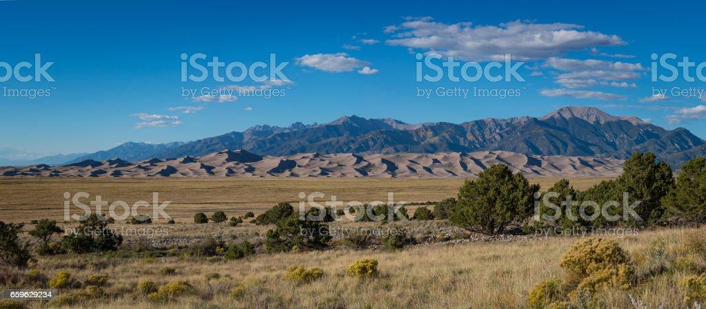 Great Sand Dunes National Park Panorama stock photo