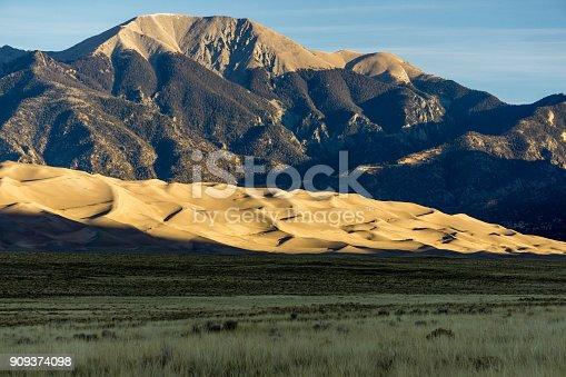 Early morning sunlight on the famous dune field near Alamosa, Colorado.