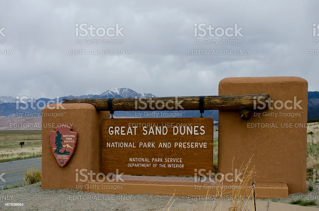 Great Sand Dunes National Park Sign stock photo