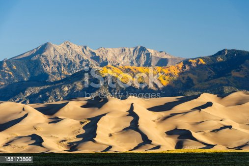Great Sand Dunes National Park with fall foliage in horizontal orientation