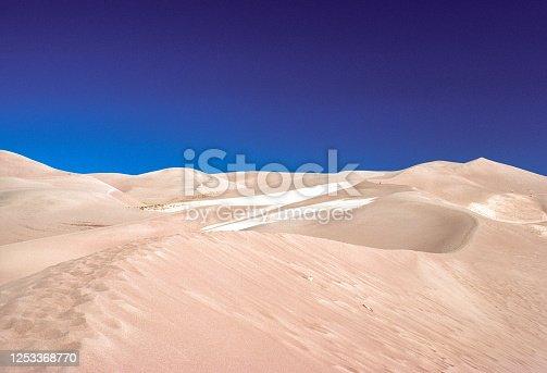 Great Sand Dunes NM - Dunes Beneath Deep Blue Sky - 1977. Scanned from Kodachrome slide.