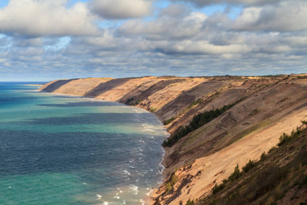 grand sable dunes - lakeshore stock photos and pictures