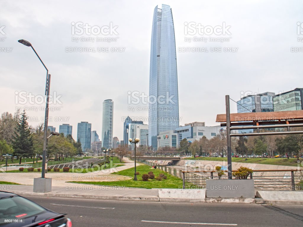 SANTIAGO, CHILE - SEPTEMBER 9, 2017: Great Santiago Tower Costanera Center View from the Mapuche River stock photo