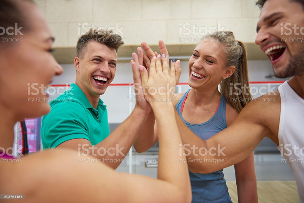 Great satisfaction after good game stock photo