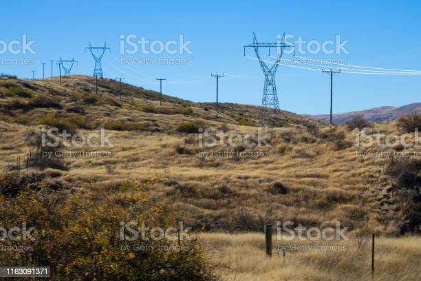 Great Scenery with high voltage towers in New Zealand