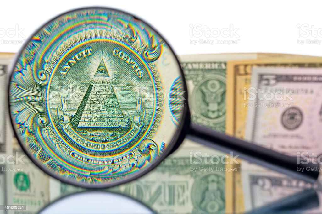 Great Seal and magnifier stock photo