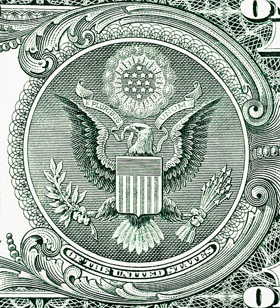 Great Seal of the United States on $1 bill stock photo