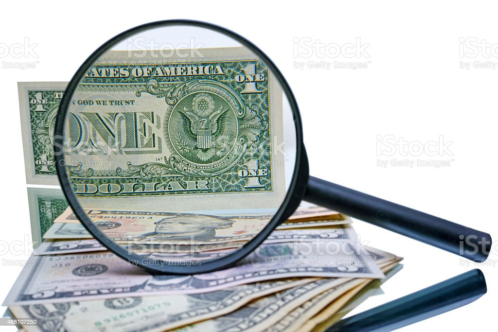 Great Seal of United States and magnifier stock photo