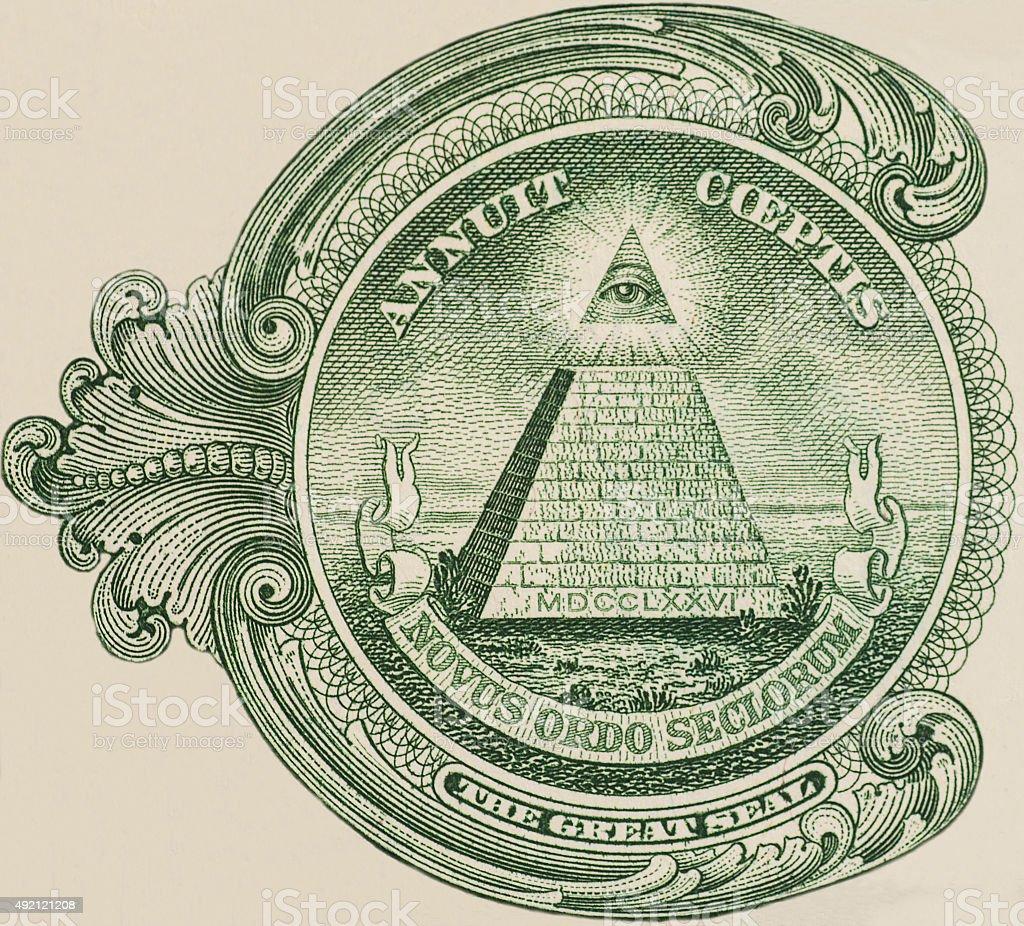 Great seal - US one dollar bill closeup macro stock photo