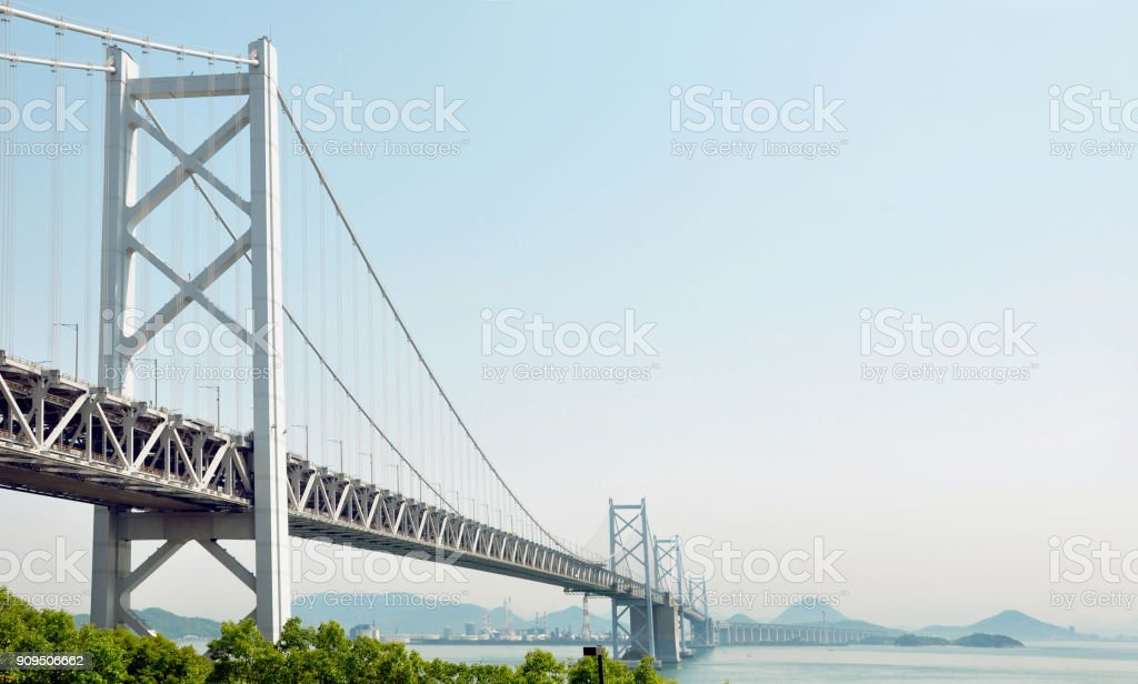 Great Seto bridge, between Shikoku and Honshu, Japan stock photo