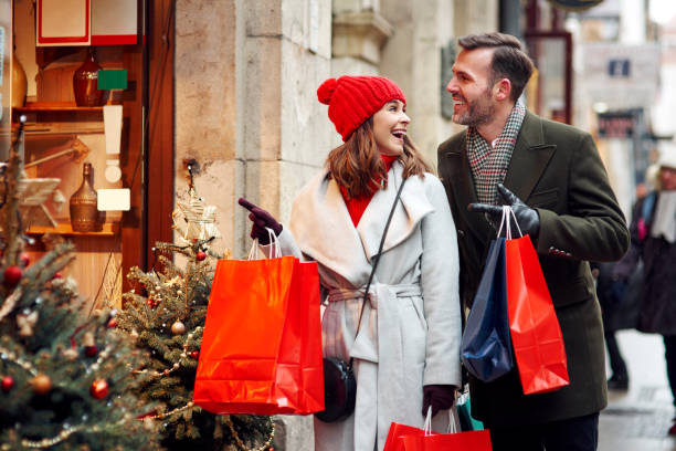 Great shopping in Christmas time stock photo