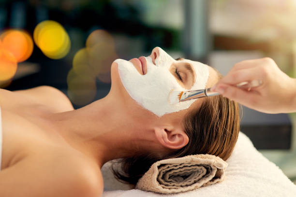 great skin happens by appointment - chemical peel stock pictures, royalty-free photos & images