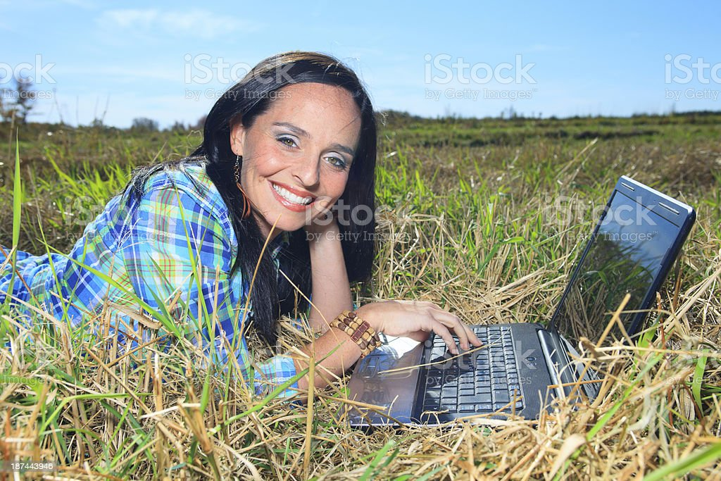 Great Smile Laptop royalty-free stock photo