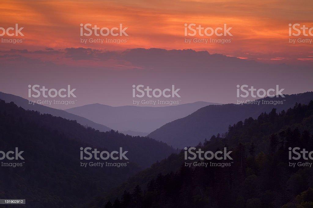 Great Smoky Mountain Sunset stock photo