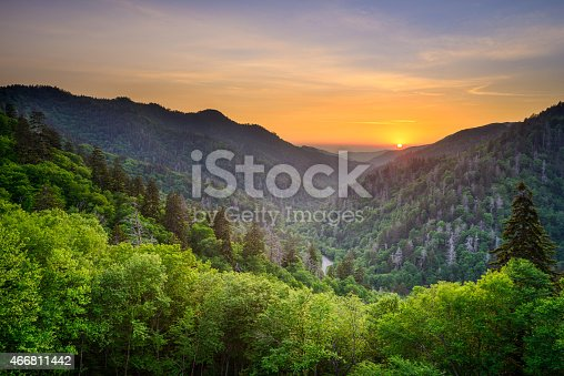 Sunset at the Newfound Gap in the Great Smoky Mountains near Gatlinburg, Tennessee, USA.