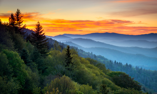 Great Smoky Mountains National Park Scenic Sunrise Landscape At Oconaluftee Stock Photo - Download Image Now