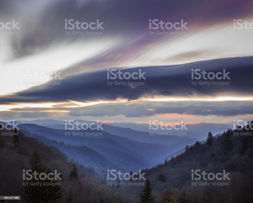 Great Smoky Mountains National Park Sunrise stock photo