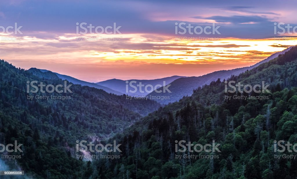Great Smoky Mountains National Park Sunset Panorama In Gatlinburg Tennessee stock photo