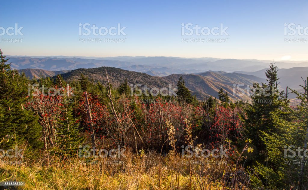 Great Smoky Mountains Panorama Landscape As Seen From The Overlook At Clingmans Dome In The Great Smoky Mountains National Park In Gatlinburg, Tennessee. stock photo