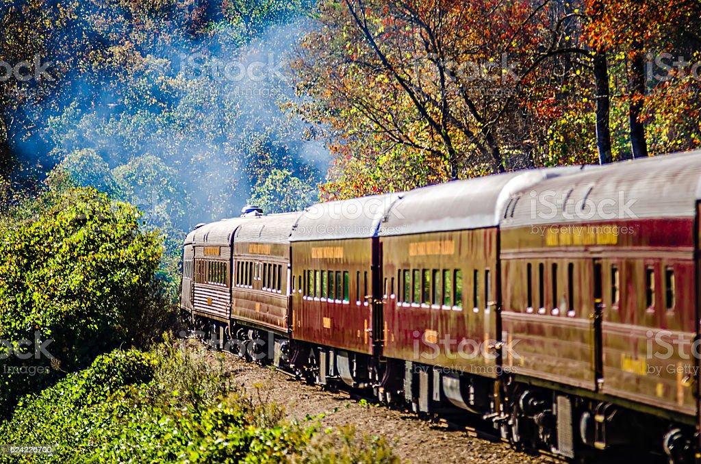 great smoky mountains rail road train ride stock photo