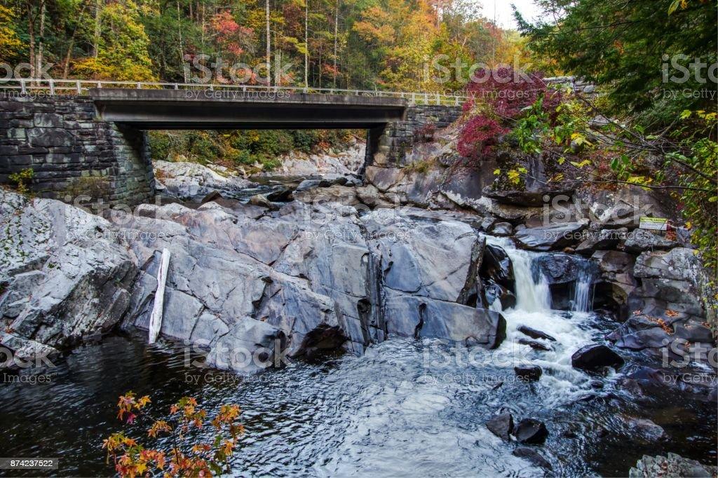 Great Smoky Mountains Roadside Waterfall The Sinks stock photo
