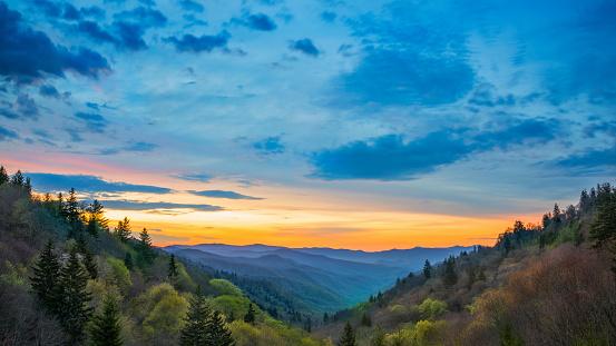 Great Smoky Mountains Sunrise Over Oconaluftee Landscape Scene