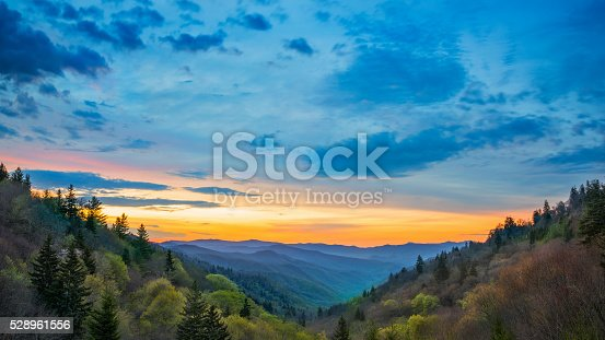 Sunrise over the Oconalufee Valley in the Great Smoky Mountain Nation Park.