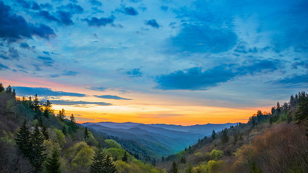 Great Smoky Mountains Sunrise Over Oconaluftee Landscape Scene Sunrise over the Oconalufee Valley in the Great Smoky Mountain Nation Park.  valley stock pictures, royalty-free photos & images