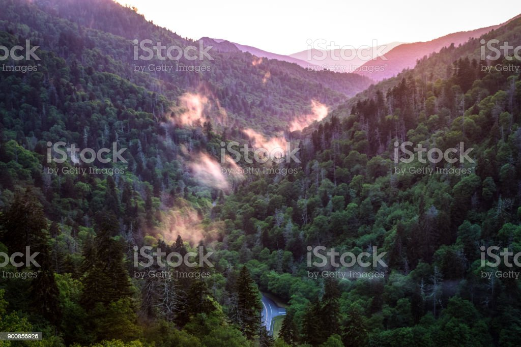 Great Smoky Mountains Sunset Panorama With Winding Mountain Road In The Foreground stock photo