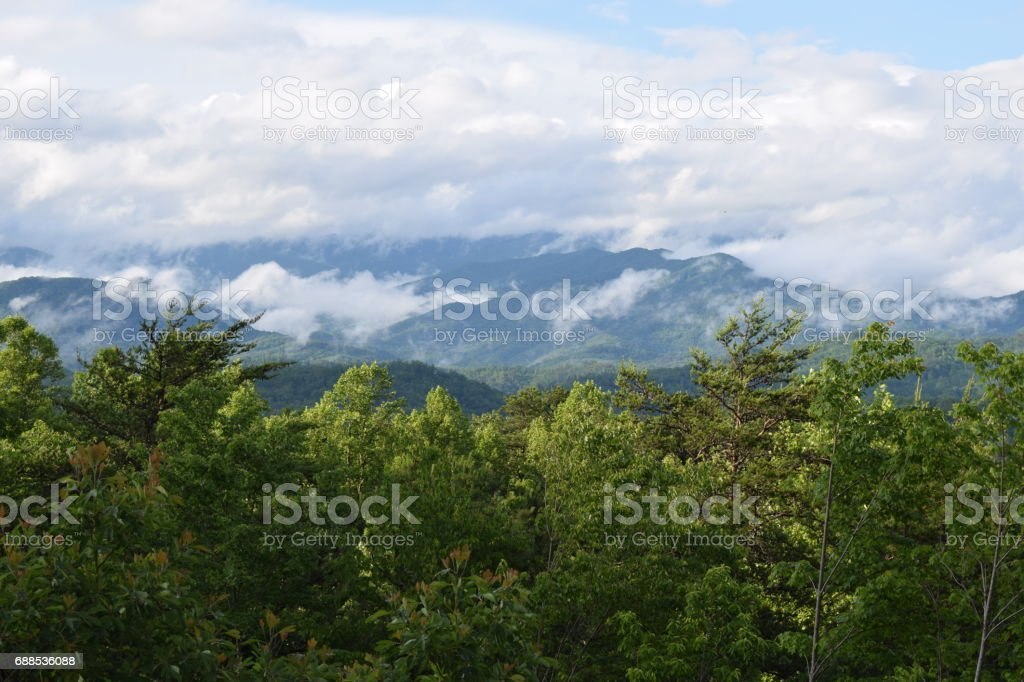 Great Smoky Mountains viewed from Tsali Area Almond NC stock photo