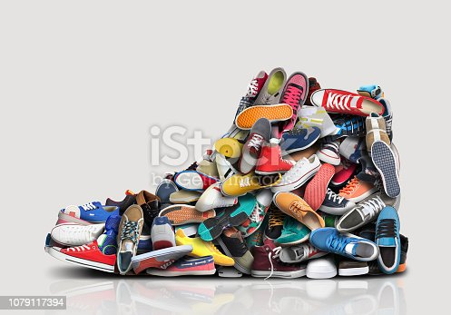 Great sneaker made up of different little sneakers and shoes