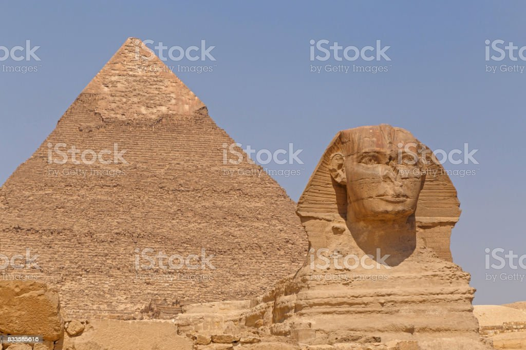 Great Sphinx and Pyramid of Khafre in Giza stock photo