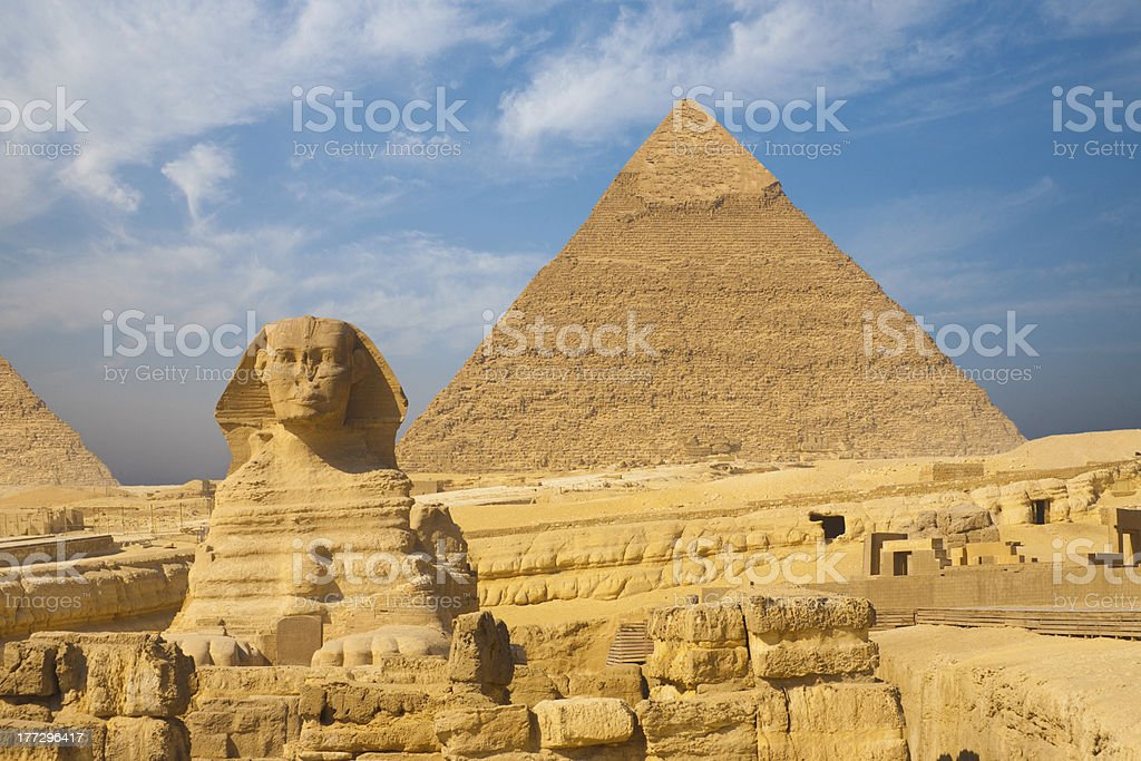 Great Sphinx Giza Pyramid Clear Blue Sky royalty-free stock photo